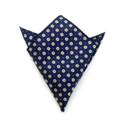 Нагрудный платок синий в белый цветочек