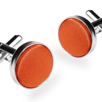 Запонки однотонные оранжевые