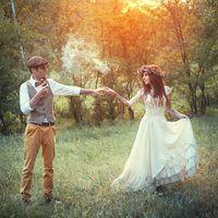 Галя и Дима. Платье для лесной свадьбы. Жилетка и кепи для жениха.