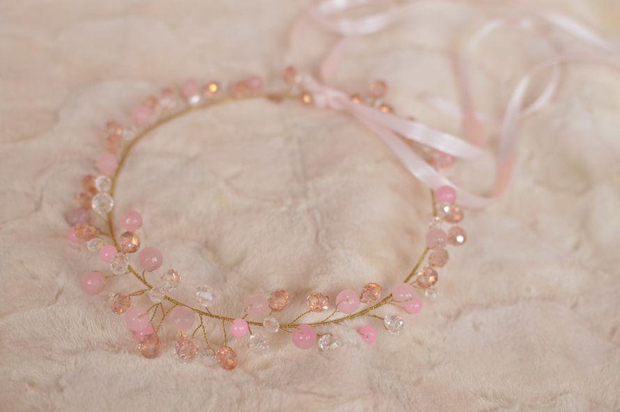 """Ободок с розовым кварцем """"Рассвет"""""""