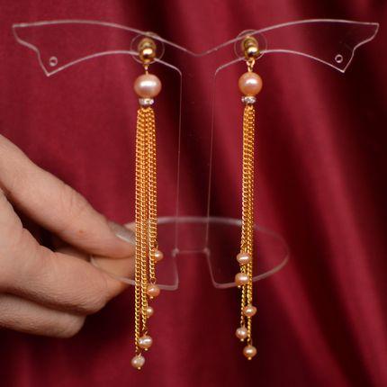"""Серьги - цепочки с розовым жемчугом """"Жозефина"""""""