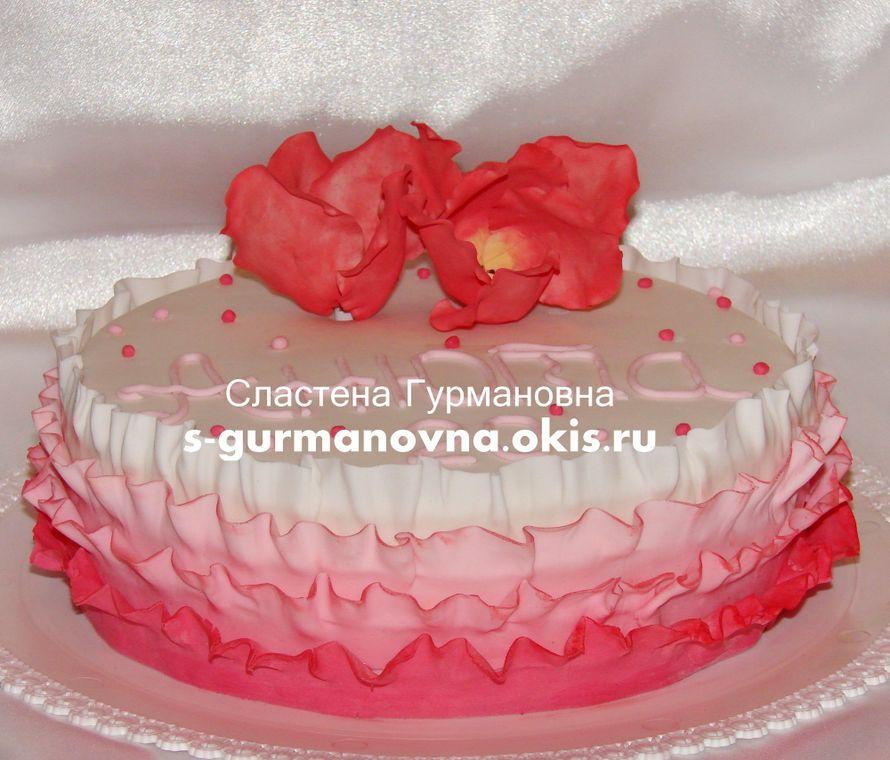 """Розовые рюши, 2,4кг, внутри фруктово-ягодный - фото 14552452 Кондитерская """"Торты от Сластёны Гурмановны"""""""