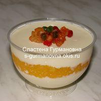 """""""Евразия"""" - мусс из сливок и белого шоколада с ароматом ванили или апельсина на выбор, ягодное конфи (малина, клубника, апельсин, вишня и т.п. на выбор)"""