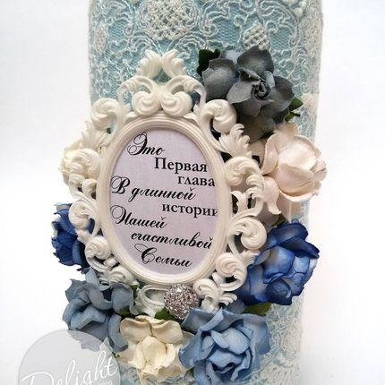 Свадебное шампанское с искусственными цветами