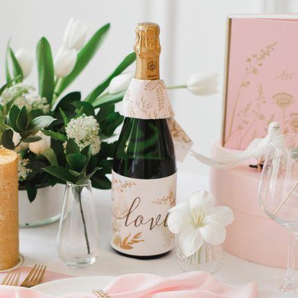 Бокалы для молодожёнов и украшение на бутылку Gold Rose
