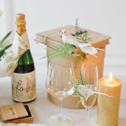 Свадебные бокалы и украшение на бутылку Botanical Garden