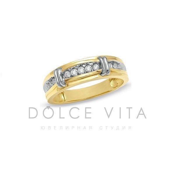 Мужское обручальное кольцо из золота с бриллиантами