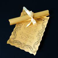 Золотые приглашения свитки. Цена 80 руб.