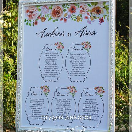 План рассадки гостей с акварельными цветами