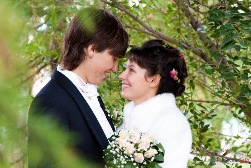 Жених и невеста стоят, прислонившись друг к другу, возле зеленого