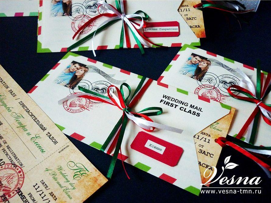 Приглашения «Итальянская свадьба» Конверт выполнен из тонкой бумаги. На конверте напечатаны рисунок в стиль свадьбы имена молодоженов и дата свадьбы.  Карточка-вкладка выполнена в виде билета на самолет из толстой бумаги. - фото 10516088 Vesna-Art - аксессуары для свадьбы