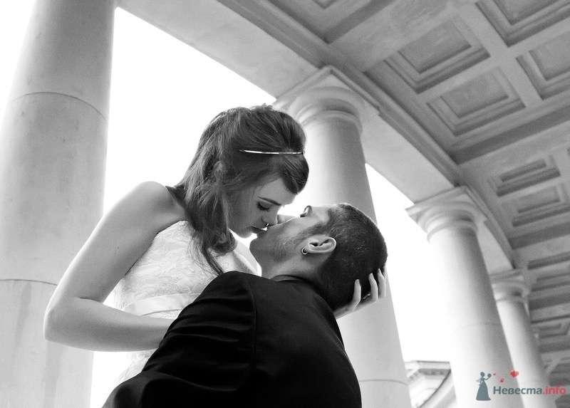 Жених и невеста целуются под бетонной аркой - фото 47633 Андрей Морковкин