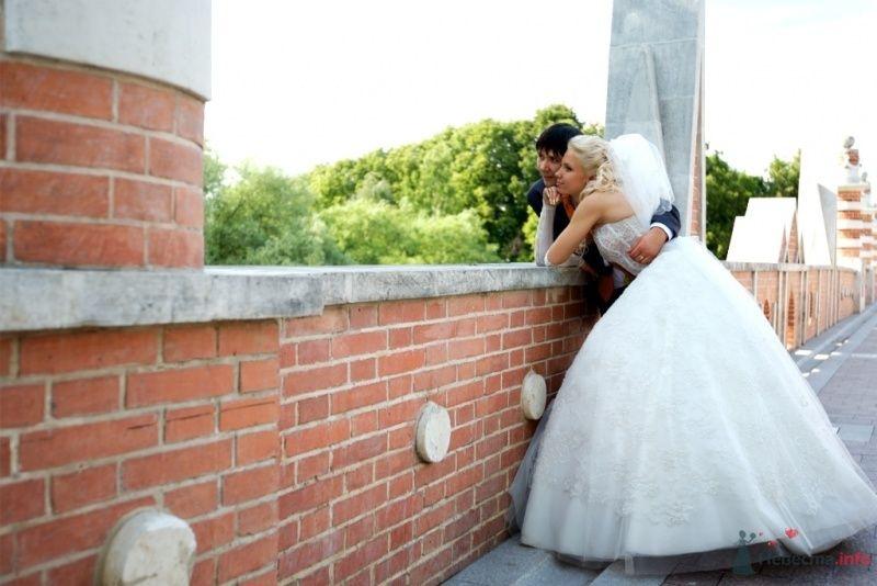 Жених и невеста стоят на балконе, прислонившись друг к другу, на фоне зелени - фото 42078 Тоська