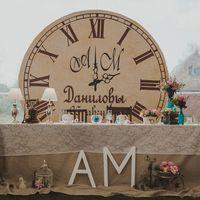 Президиум молодожен! Инициалы молодых, фамилия семьи, дата свадьбы и стрелки часов показывают время регистрации брака.