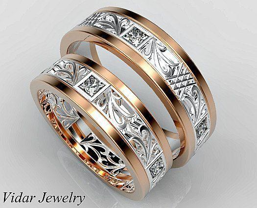 Обручальные кольца с бриллиантами огранки Принцесса