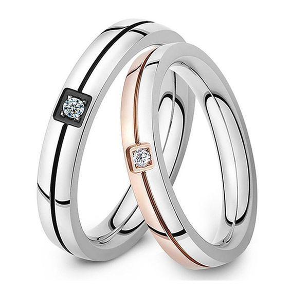 Обручальные кольца из комбинированного золота с бриллиантом. На заказ