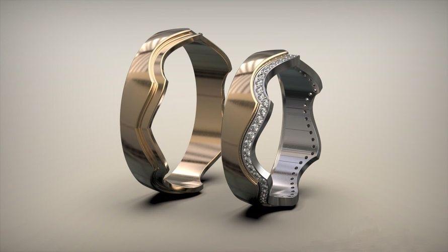 Необычные обручальные кольца с бриллиантами. На заказ