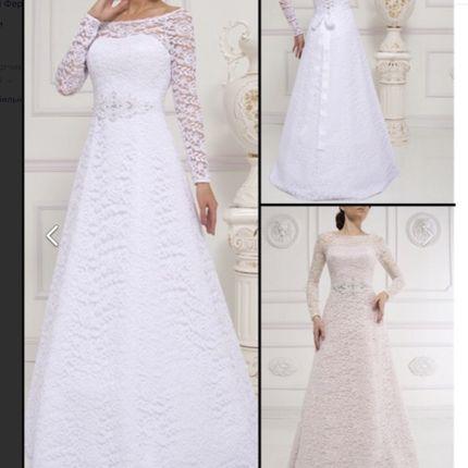 Свадебное платье с рукавами А-силуэта