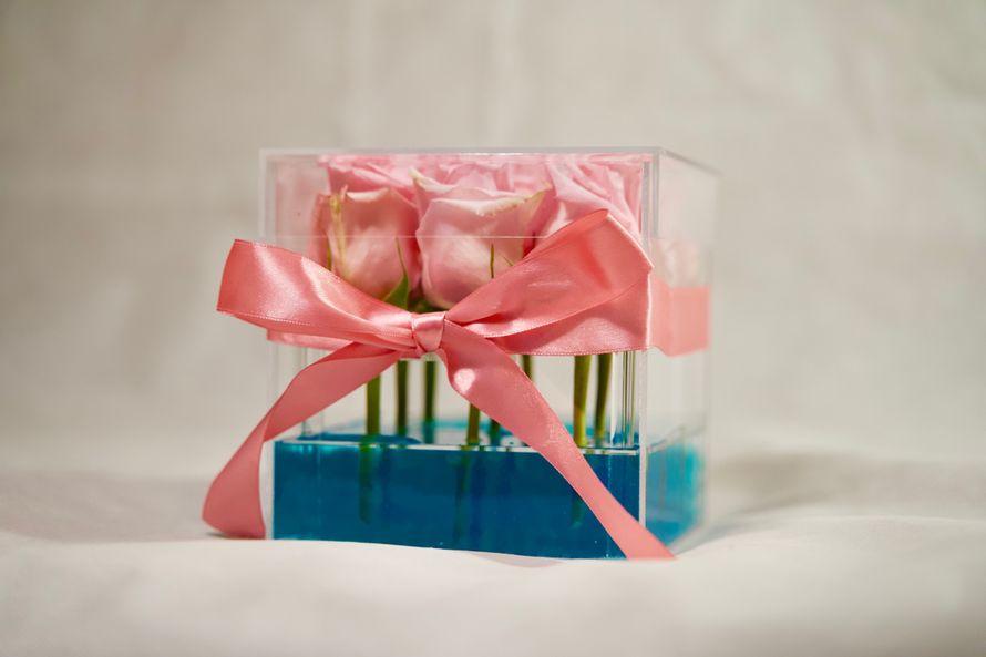Букет из роз в прозрачной коробочке