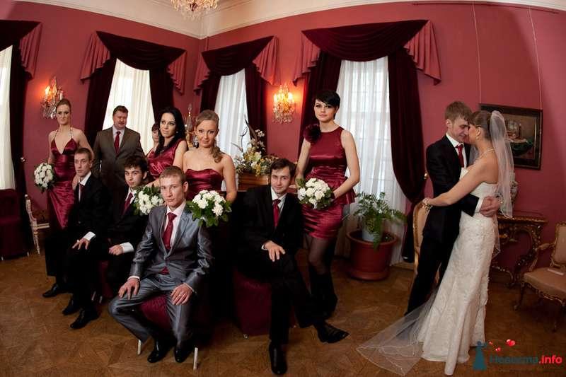 Жених в черном костюме, красном галстуке обнимает невесту в белом длинном платье, фате, друзья с красными галстуками и подружки в - фото 83119 Фотограф Александра Глотова