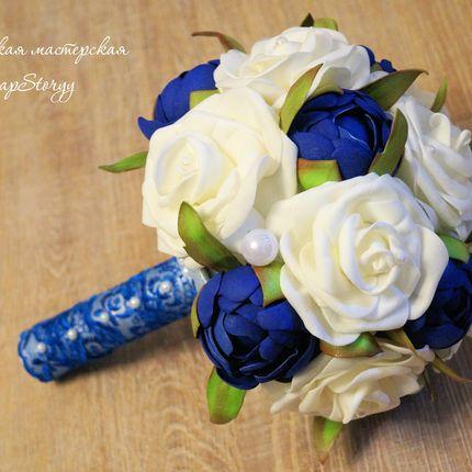 """Свадебный букет невесты """"Синие пионы"""""""