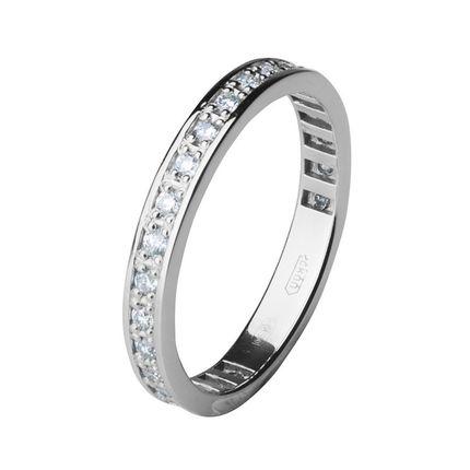 Обручальное кольцо из платины с дорожкой бриллиантов, 2,5 мм