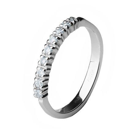 Обручальное кольцо из платины с 9 бриллиантами, 2 мм