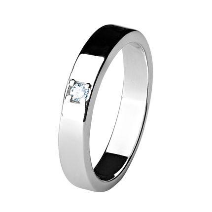 Обручальное кольцо из платины с 1 бриллиантом, 3,5 мм