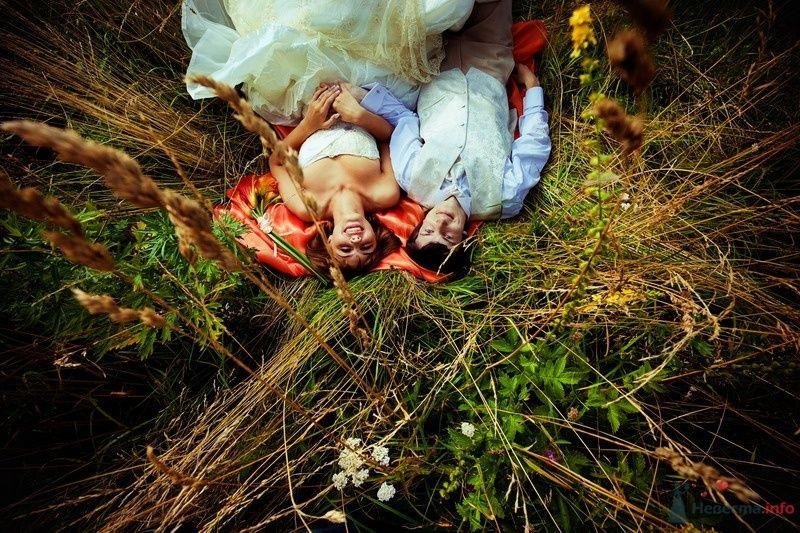 Жених и невеста, прислонившись друг к другу, лежат на фоне поля - фото 62126 yanechka