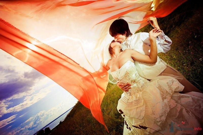 Жених и невеста, прислонившись друг к другу, стоят на фоне поля - фото 62136 yanechka