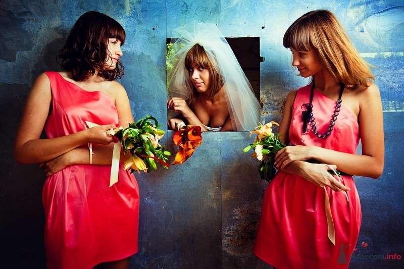 Невеста в открытом белом платье, фате и подружки в коротких розовых платьях, присборенных на талии, с асимметричным вырезом и - фото 62159 yanechka