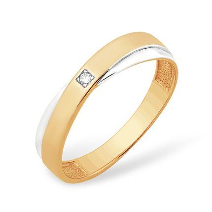 Кольцо из красного золота 585 с бриллиантами