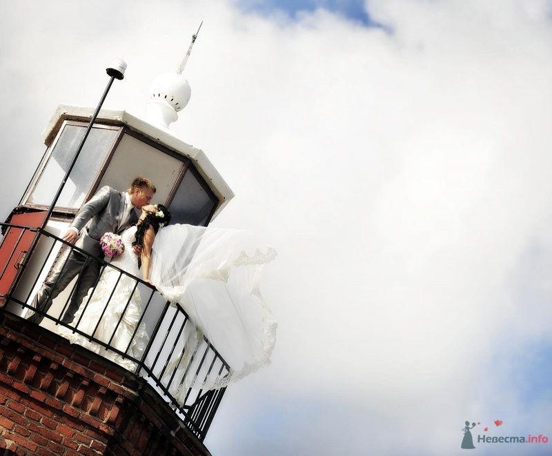 Жених и невеста стоят, прислонившись друг к другу, на фоне облачного - фото 46887 Elvyra25