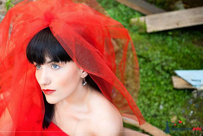 Утонченный лик будущей молодой жены превосходно подчеркивает прическа на длинные волосы - собранные локоны, украшенные  красной - фото 103798 Невеста01