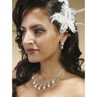 Эксклюзивное дизайнерское украшение в прическу с белыми перьями, жемчугом и автрийскими кристаллами