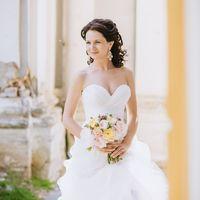 Букет невесты в нежных тонах. Роза Девида Остина, роза голден вувузела, персиковые гвоздики, астранция, пионы
