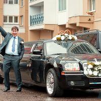 Встреча жениха и невесты, свадебный лимузин