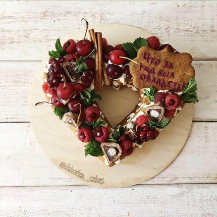 Торт сердце-кружочек