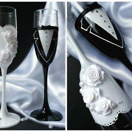 """Бокалы свадебные """"Жених и невеста"""""""