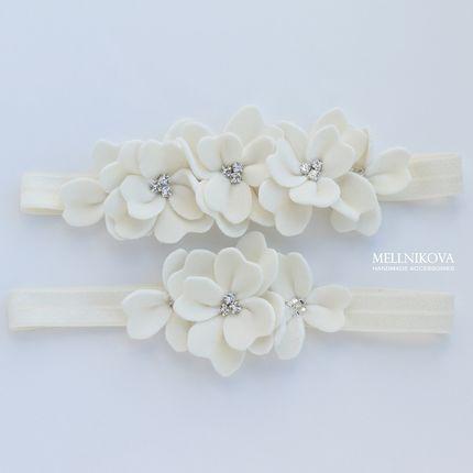 """Комплект подвязок """"Ivory с бархатными цветами"""""""