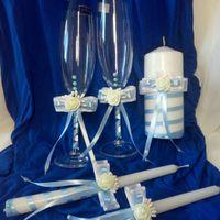 Голубой набор (бокалы и свечи)