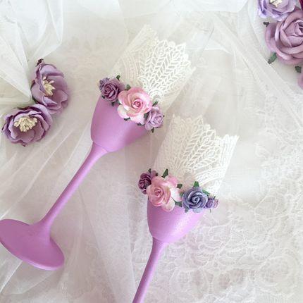 """Свадебные бокалы """"Лиловые цветы"""""""