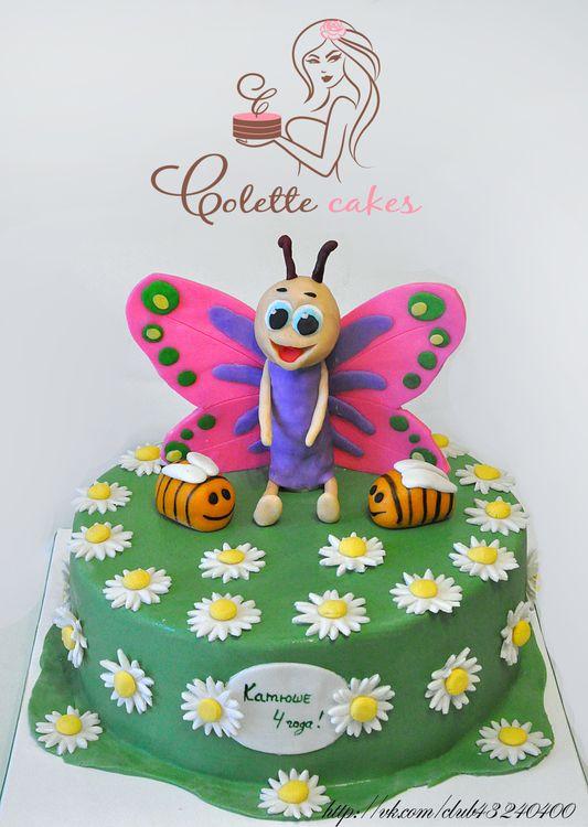 Фото тортов детских бабочкой