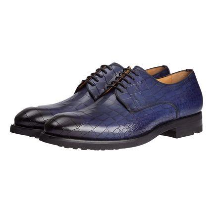 Кожаные туфли ярко-синего цвета