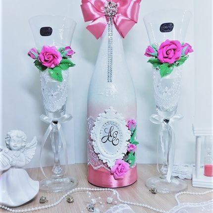 """Оформление """"шампанского"""" в розовом цвете"""