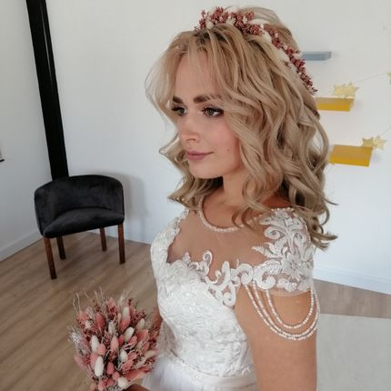 Венок невесты из лаванды + букетик с сухоцветами и лавандой