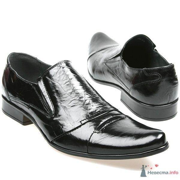 Мужские черные модельные кожаные туфли без шнурков - фото 66880 Kwinto-shoes - cвадебная обувь