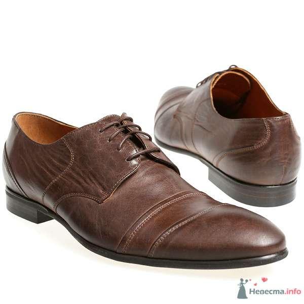 Коричневые модельные кожаные  мужские туфли со шнурками - фото 76081 Kwinto-shoes - cвадебная обувь